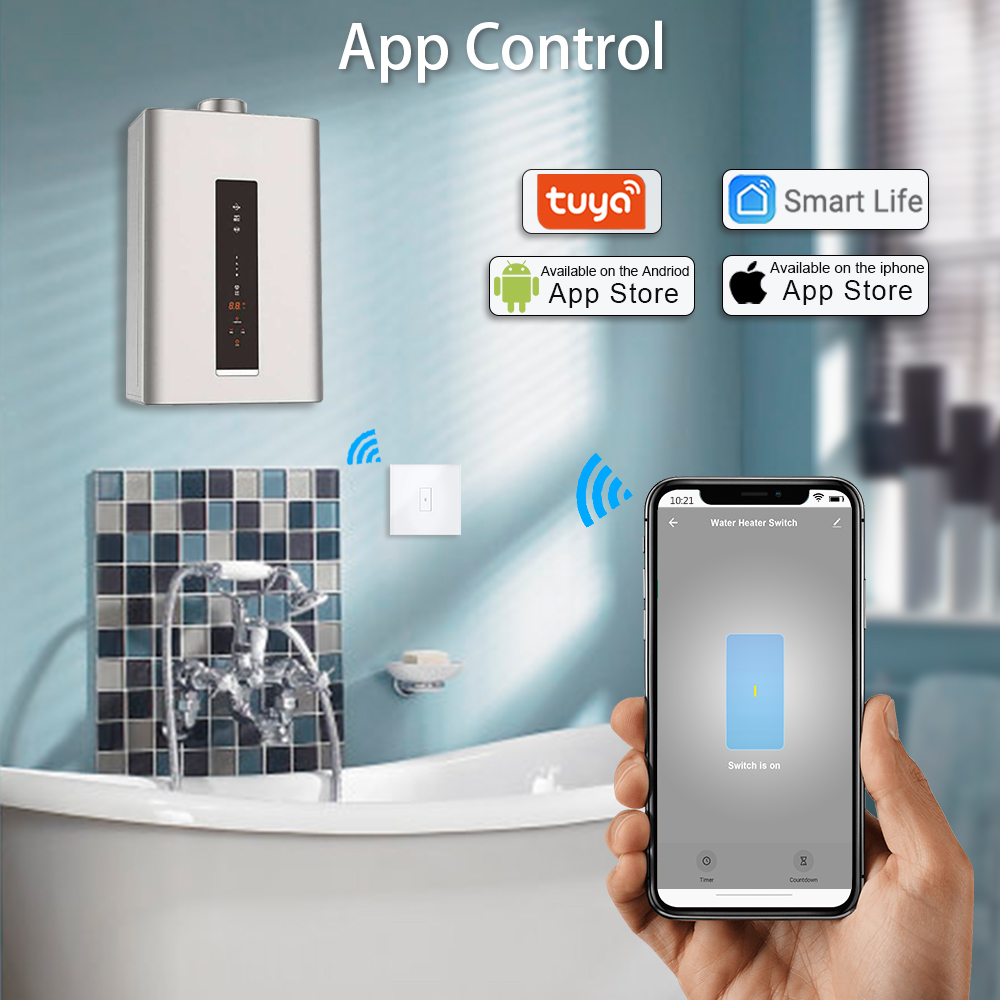Image 2 - Tuya WiFi Touch Switch for Boiler Water Heater 20A  EU Panel  App Timer ON OFF Voice Control Google Home Amazon Alexa IFTTT-in Switches from Lights & Lighting