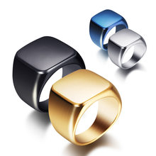 Steel Titanium Men's Ring Vintage Solid Full Glossy Men's Stainless Steel Ring Black Wedding Thumb ring AnilloS056(China)