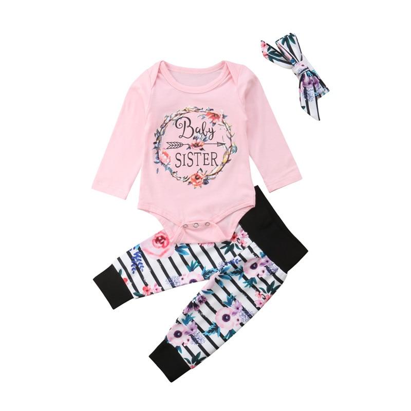 3pcs Baby Girls Letter Print Bodysuit Top+Floral Pants Legging Outfits Newborn Kids Cotton Clothes Children Clothing Set 0-18M letter print asymmetrical top