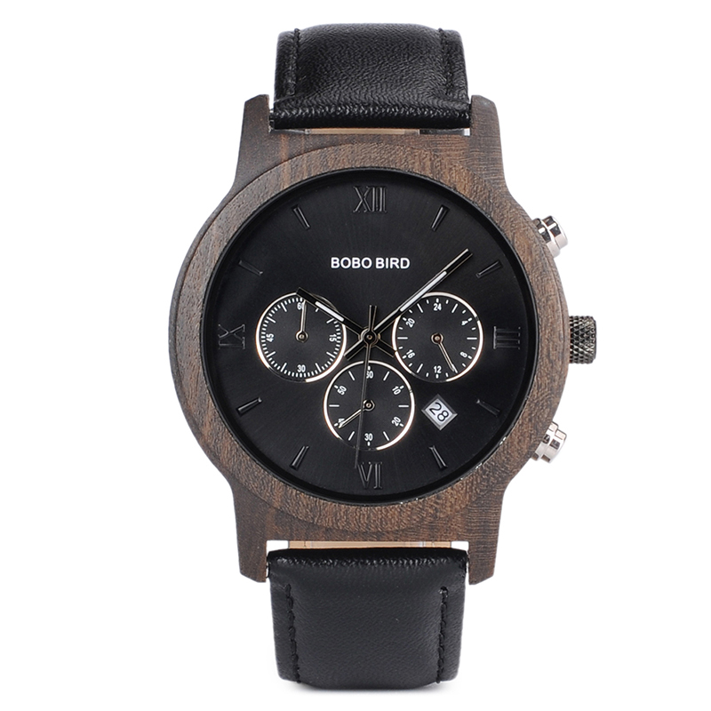 BOBO BIRD Mens Luxury Wood Watches Clock Functional Stop Chronograph saat with Date Display relogio masculino Timepieces C-P28 (24)