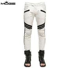 MOGE белые джинсы мужская мода moto байкер джинсы мужчины pantalones hombre pitillos pantacourt homme джинсы homme марки de luxe