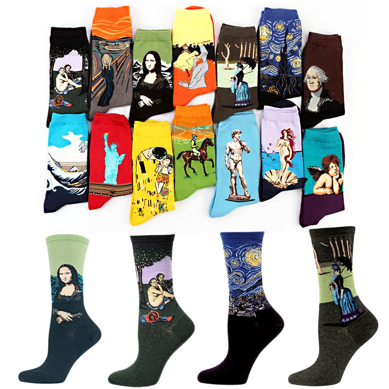LNRRABC 19 Patterns Cotton   Socks   Famous Painting Printed Character Harajuku Design Women Men Art   Socks   Clothing Accessories