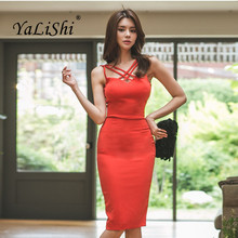 Summer Dresses Red Spaghetti Strapless Women Dress 2019 Office Ladies Hollow Out Bandage Bodycon Sexy Party Midi Pencil Dress 6xl oversized dress women clothing office bodycon midi pencil dress fashion square neck lace hook flower party dresses red blue