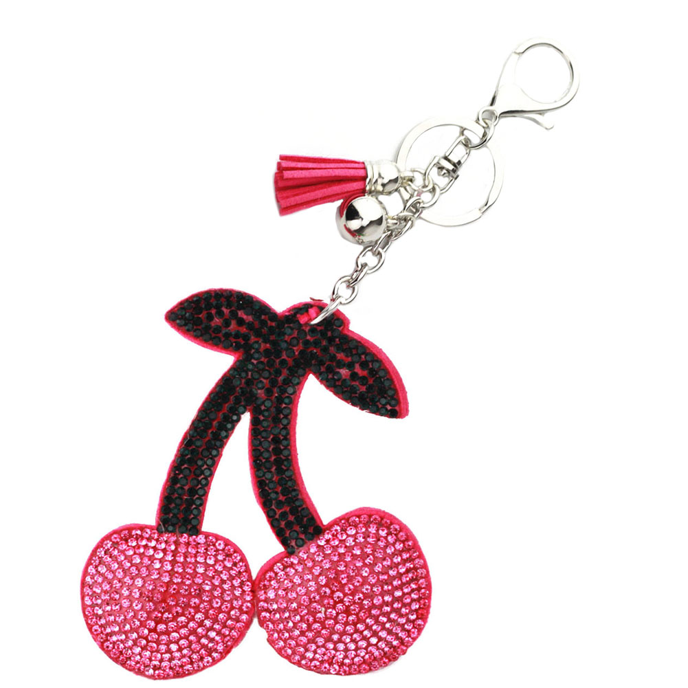 1PC Chic Girls Ladies Rhinestone Tassel Cherry PU Leather <font><b>Cell</b></font> <font><b>Phone</b></font> <font><b>Car</b></font> Key Ring Key Chain Hand Bag <font><b>Accessory</b></font>