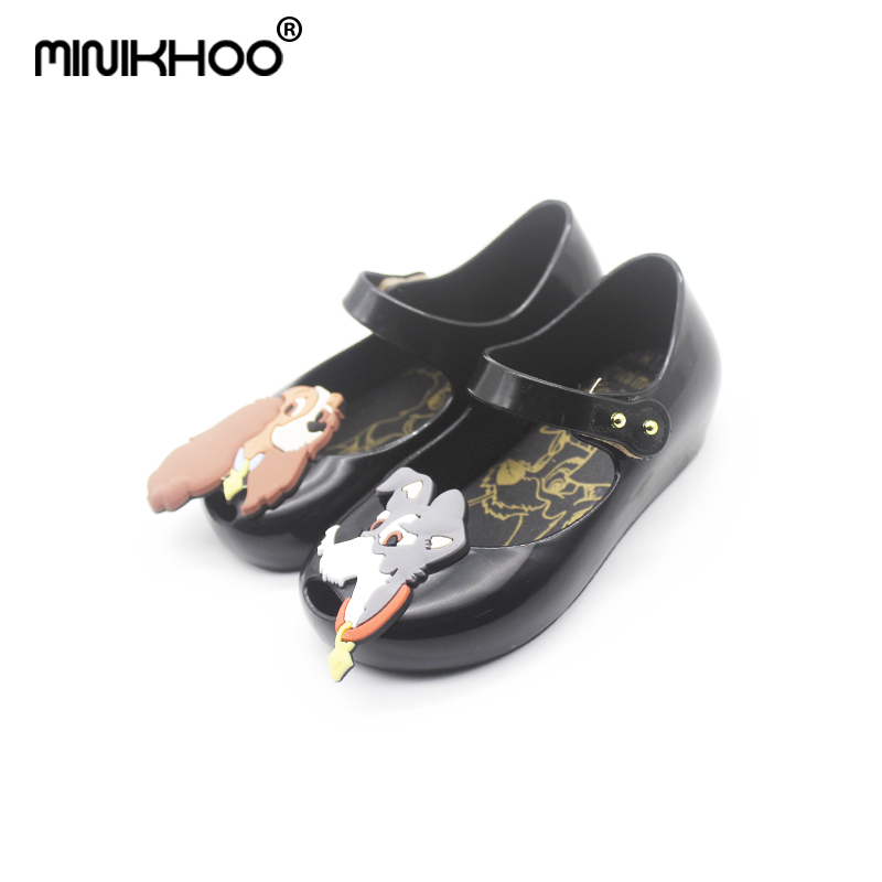 Mini Melissa Cute Dog Pattern Girls Jelly Sandals 2018 Summer Children Shoes Baby Princess Melissa Sandals Girls 14.5cm-17.5cm