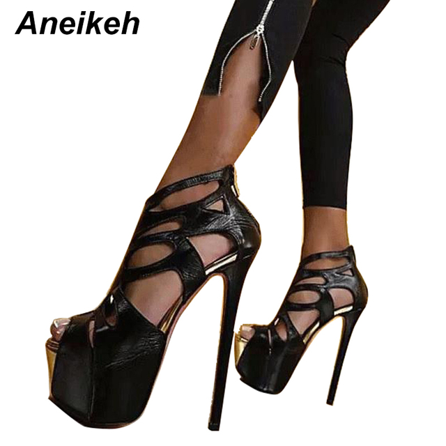 7f4ae238444d Aneikeh New Sexy Pumps Peep Toe 16CM High Platform Sandals Boots Fashion PU  Leather Shoes Nightclubs Black Size 34-40 9966-68