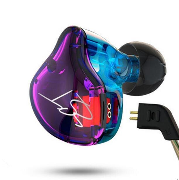 Kz zstカラフルバランスアーマチュアでダイナミックインイヤーイヤホンbaドライバノイズキャンセヘッドセットでマイク交換ケーブル