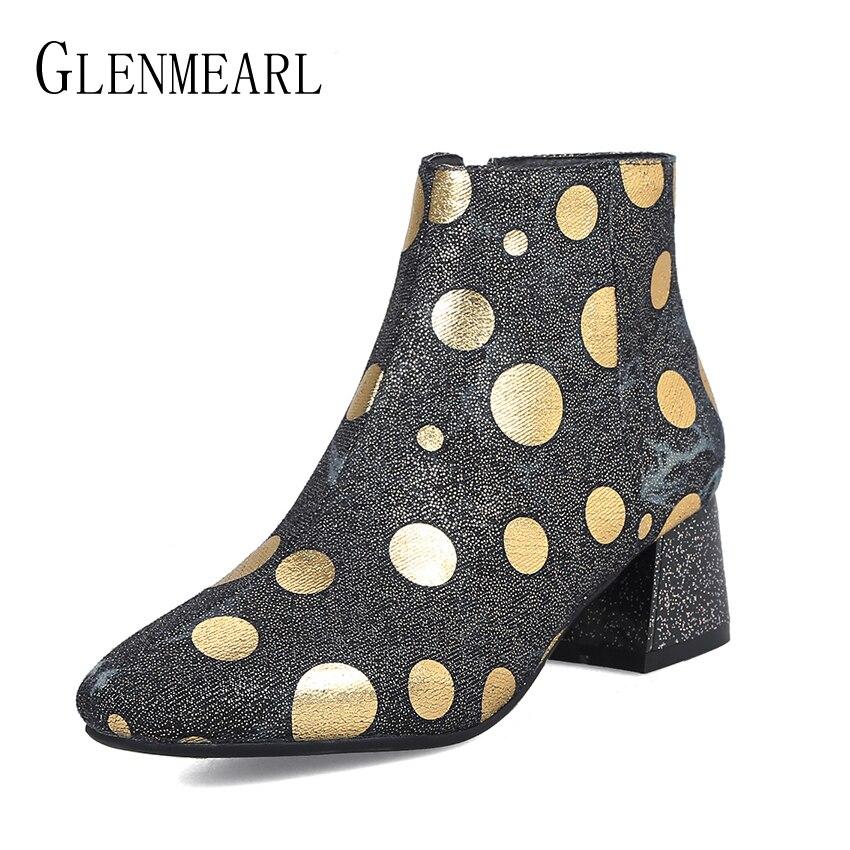 Fashion Women Boots High Heels Ankle Shoes Autumn Winter Boot Female Round Toe Zip Ladies Shoe Brand Newest Denim Shoes Woman DE цена