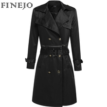 Finejo Women Trench Fashion Casual Turn Down Collar Long Sleeve Solid Double Breast Long Trench Coat with Belt