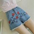 Горячие Моды Джинсовые Шорты Женщин розы Вышивка Короткие Джинсы 2016 Летние Шорты Случайные Старинные бренд высокой талией джинсы короткие