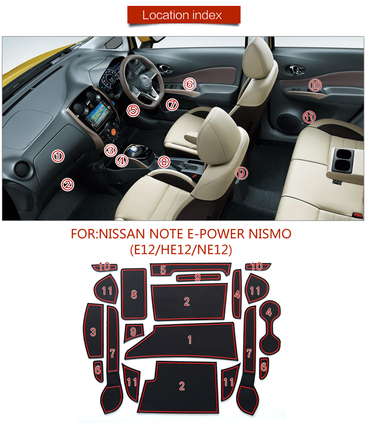 20pcs/set Car Gate Slot Mats Door Pad/Cup Mats For Nissan Note E-power Nismo E12 HE12 /NE12 Anti Non Slips Auto Door Groove Mats