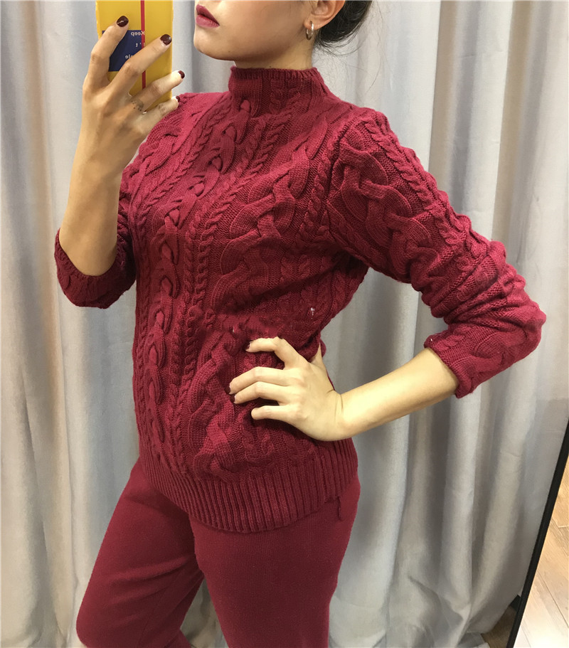2018 Top Mode Laine Pleine Nouvelle Cachemire Deux-pièce De Mode Fil Tissé Épaississement Mince Pull En Tricot Pantalon 2 pièce costume Femme
