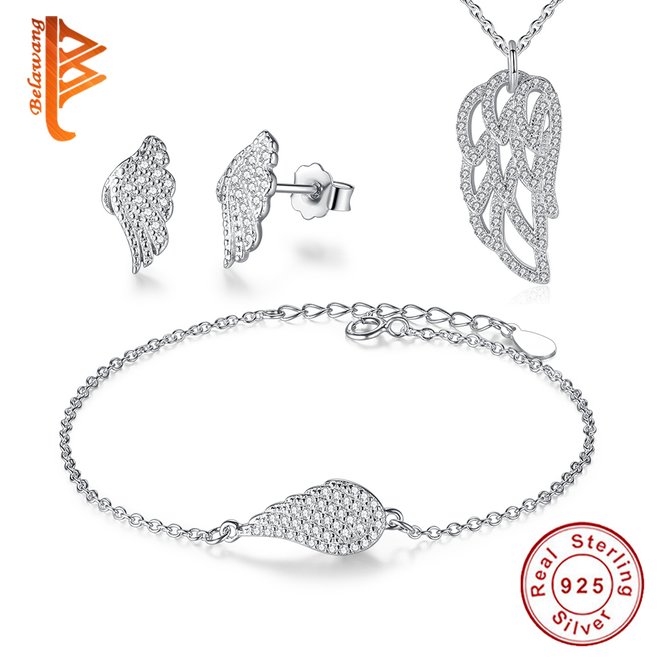 BELAWANG Spring Style 925 Sterling Silver Leaf Jewelry Sets for Women Shinning Crystal Jewelry Wedding Engagement