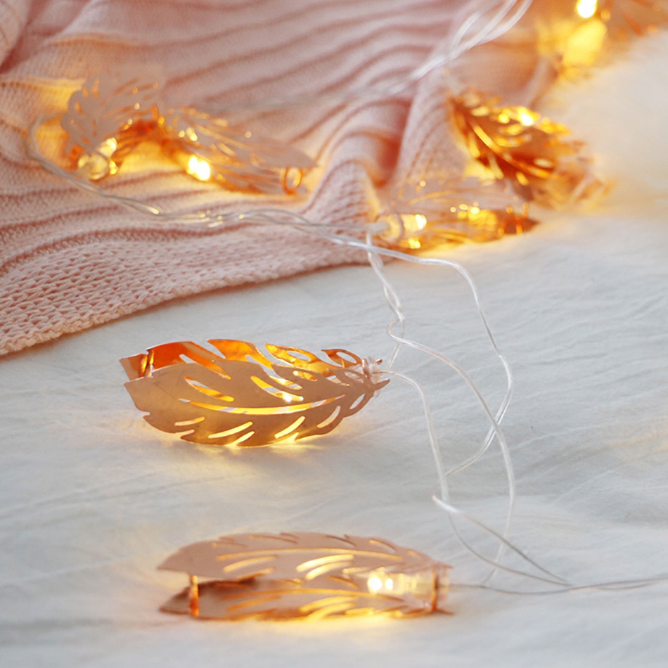 Feather Leaf Shape LED String Battery Powered Strip Night Lamp Home Decoration Lighting Festival Chirstmas Party Fairy Bedroom
