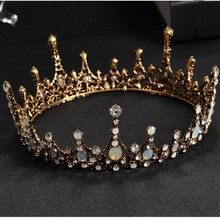 купить 2019 Baroque Vintage Crystal Wedding Bridal Tiaras Hairband Headpiece Black Princess Pageant Crown Bridal Hair Accessories дешево