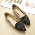 Big Size Footwear Woman Flats Shoes Bling Beads Pointed Toe Boat Shoes For Women Black Solid Fashion Soft Sole Ladies Shoe 43