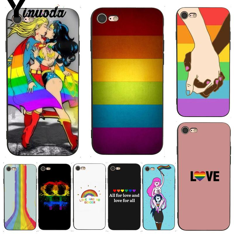 Yinuoda For iphone 7 6 X Case Gay Lesbian LGBT Rainbow Colorful Printing Drawing Phone Case for iPhone 7 X 6 6S 8 Plus 5 XS XR