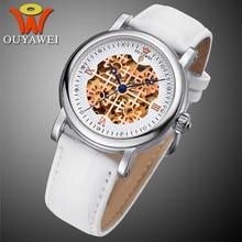 Original OUYAWEI reloj mecánico Automático Esquelético de los hombres Correa de cuero Del Reloj Del Amante Impermeable Mujeres xfcs Relojes Hombre 2016