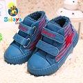 2016 Зима brand design мягкий теплый мыть деним полоса плоские девочки мальчики младенческой toddle кроссовки лодыжки ботинки снега shoes