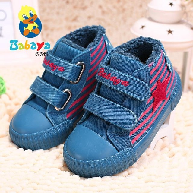2016 Winter brand design soft warm washed Denim cotton stripe flat baby girls boys infant toddle sneaker ankle snow boots shoes