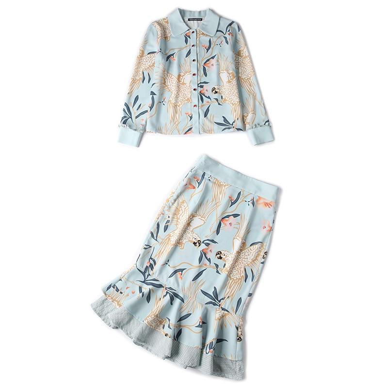Conjunto Dos Las Pájaro De Top Impresión 2019 Volantes Conjuntos Y Trajes Establece Ropa Flor Falda Mujeres Chart Piezas Camiseta See RrFRIxO5wq