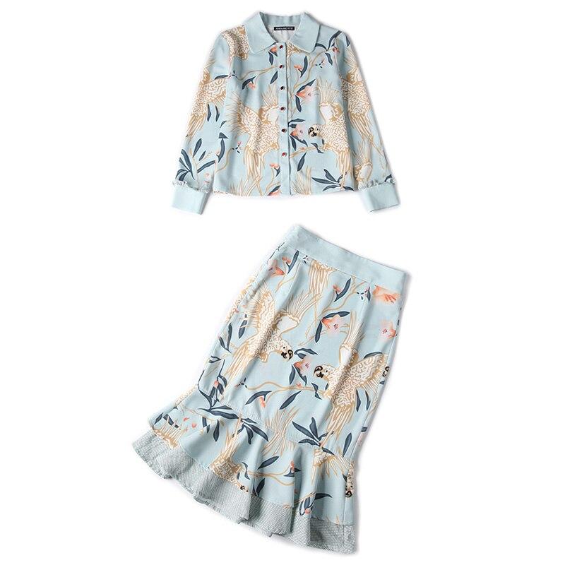 Imprimée Fleur 2019 Tenues Et À Chart Ensemble Volants Top Vêtements Chemise Jupe Ensembles Deux Femmes De See Pièces Oiseau n6xB8w7qp