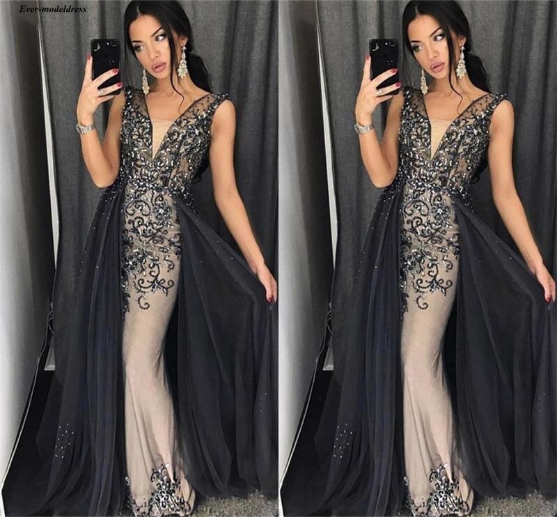 Saudi Arabic Illusion Mermaid   Prom     Dresses   V-Neck Sequined Beading Rhinestones Sparkly Celebrity   Dresses   Customized Robes