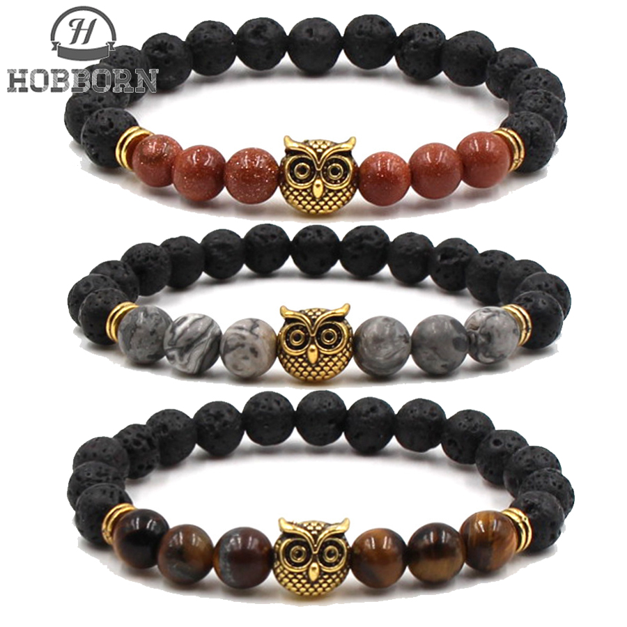 HOBBORN Classic 8mm Natural Stone Men Bracelet Lava Tiger Eye Owl Handmade Strand Healing Reiki Prayer Balance Women Bracelets