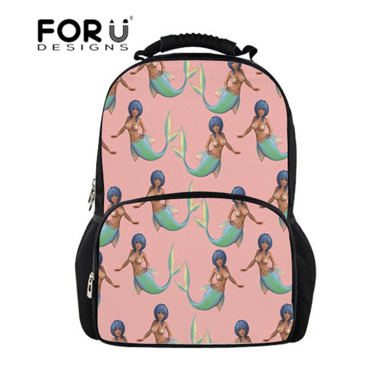 FORUDESIGNS Teen Girls School Bags Mermaid Pattern Backpacks for Junior School Satchel 18 Inch Backpack Schoolbag Daily Daypack