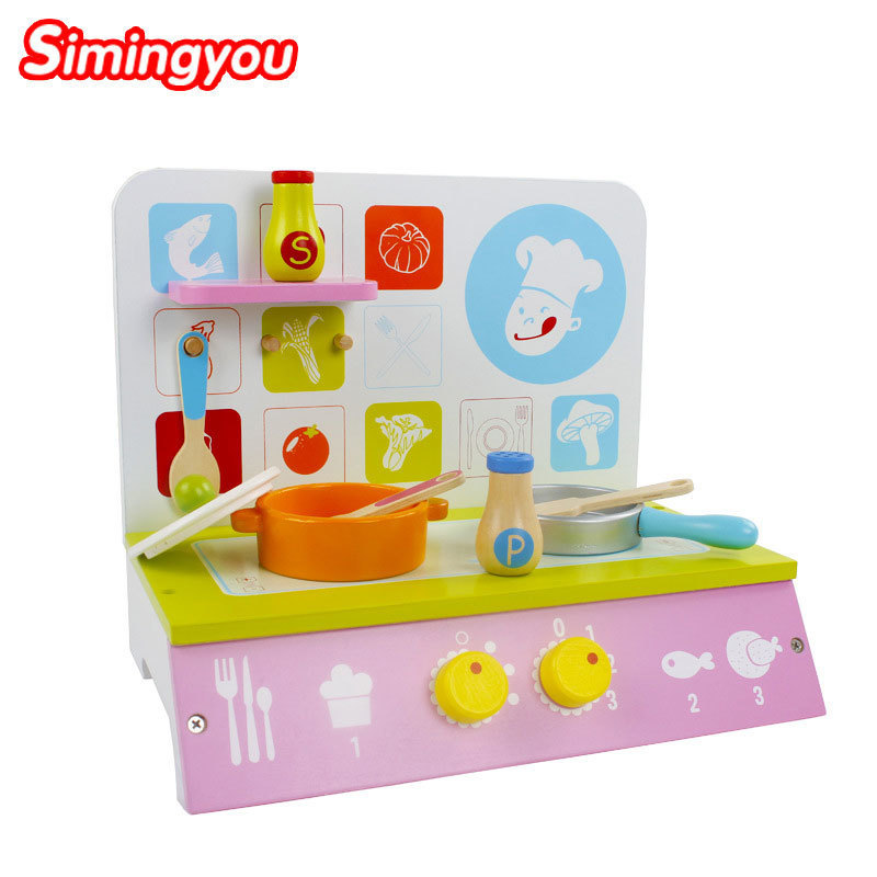 Simingyou Learning Education Home Kitchenette Stove Toys Montessori Educational Wooden Toys B40-54 Drop Shipping 50pcs hot sale wooden intelligence stick education wooden toys building blocks montessori mathematical gift baby toys