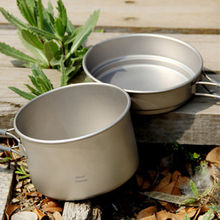 Keith Camping Cookware Titanium Pot Camping Hiking Traving Hunting Picnic Cookware Set 0.4L+0.8L Pot Frying Pan 168g KP6012