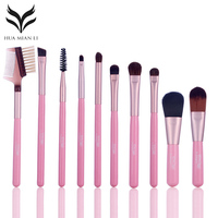 10Pcs Portable Makeup Brushes Kit Professional Eyeshadow Eyebrow Blush Smudge Brush Mini Lip Cosmetic Brushes Set