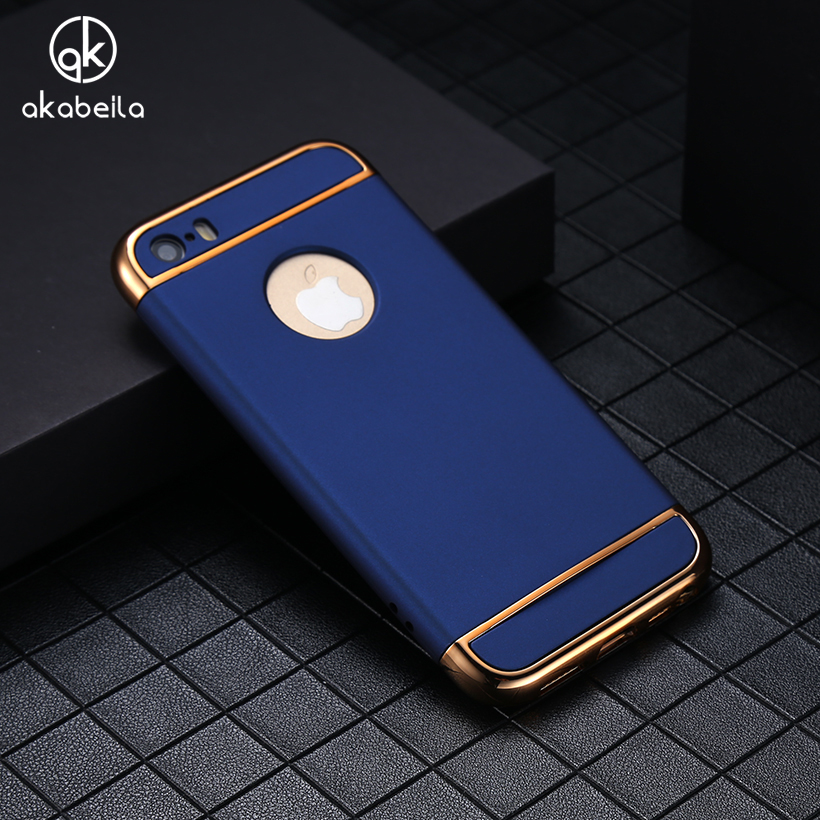 AKABEILA Phone Case For Apple iPhone 5 5S 5G 55S iPhone SE 6C iPhone55s Covers Plating Hard PC Plastic Cases Shells Housing