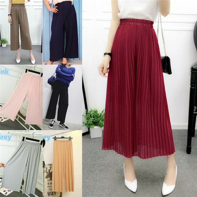 Culottes Trousers Leg-Pants Pleated Chiffon High-Waist Wide Summer Womens Ladies Elastic