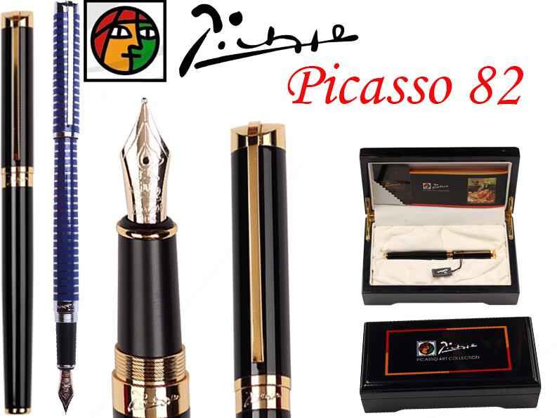 8 pcs/lot wholesale Fountain Pen Black M 10 K Solid Gold Nib NIB Picasso 82 the best gift Free Shipping fountain pen m nib hero 1508 dragon clip signature pens the best gifts free shipping