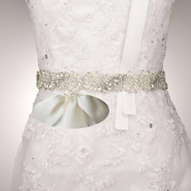 JLZXSY Wedding Bridal Sash Pearl Crystal Rhinestone
