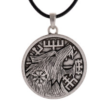 1pc Vintage Viking Wolf Head Vegvizir Pendant Necklace Collier Ethnic Necklace(China)