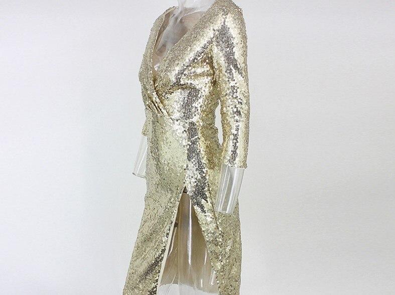 Vestido de lentejuelas doradas mujer cuello en V profundo alto Split Delgado Hip club nocturno fiesta lentejuelas vestido señora una pieza vestidos - 6