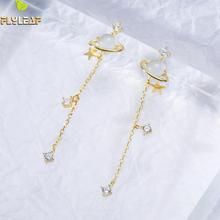 Flyleaf Real Silver 925  Drop Earrings For Women Star Jade Satellite Planet Cubic Long Tassel Zirconia Earings Fashion Jewelry