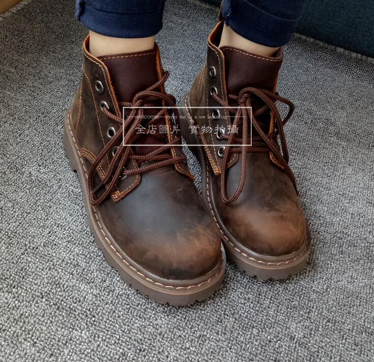 Fashion Vintage Women Spring Autumn Ankle Boots Genuine Leather Lady Retro Lace up Army Shoes Real