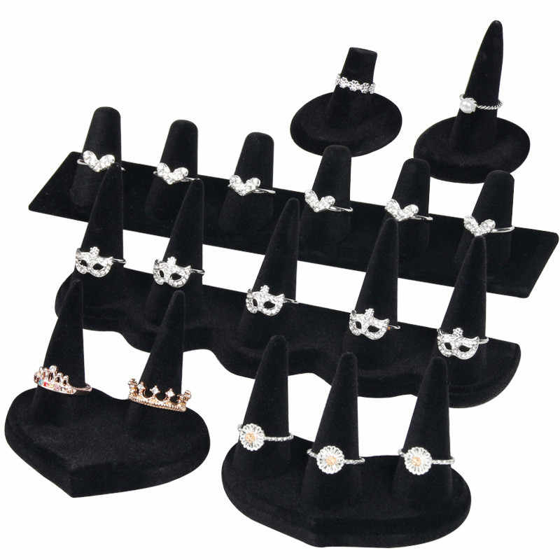 Black Velvet Elegant Jewelry Display Earrings Rings Organizer Jewelry Display Stand Holder Rack ShowcaseProps Stand Organizer