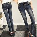 Новой Весны и лета большой размер джинсы девушка упругой высокой талия джинсы хлопок шаровары жира сестра длинные брюки XL 5XL