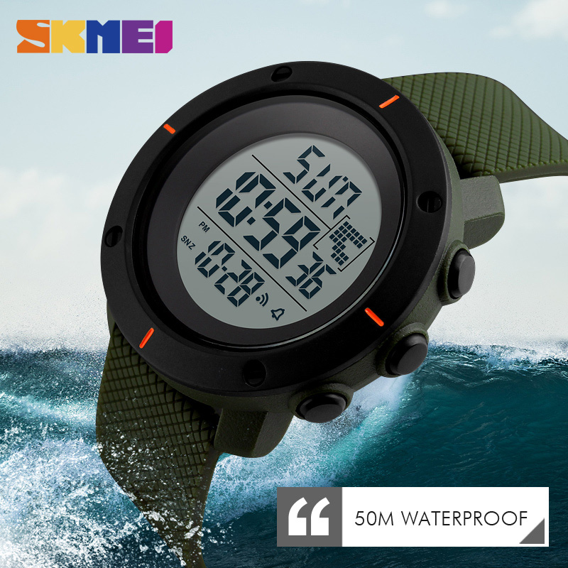 <font><b>SKMEI</b></font> Sports Watches Men Digital Multifunction Simple Chronograph 50M Water Resistant Alarm Clock Week Display Wristwatches <font><b>1213</b></font> image