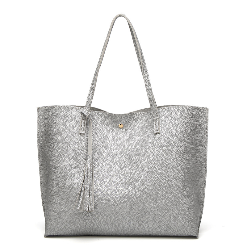20cd472fce Top-handle bags female fashion large capacity medium silver PU women tote  bags faux leather