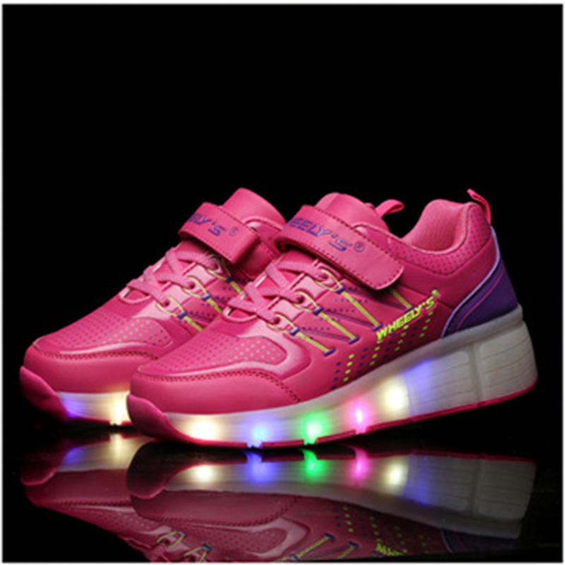 2018 Luminous Sneakers Children LED Light Up Shoes Boys Girls Shoes Kids Sneakers Glowing Sneakers With Wheels