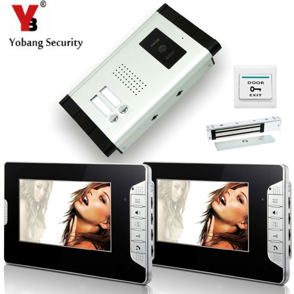 YobangSecurity 2 Units Apartment Wired 7Video Door Phone Video Door Entry System Intercom Entry Access System+Door Lock