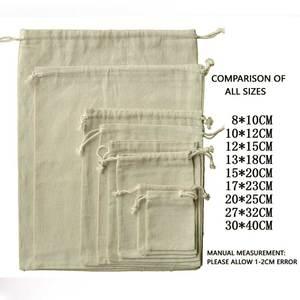 100 sztuk biżuteria Drawable Cotton muślin torby torby na prezenty ślubne torebki detaliczne etui ze sznurka opakowanie na biżuterie dekoracje świąteczne