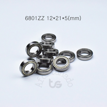 6801ZZ 12*21*5(mm) 10pieces bearing Metal sealed bearing Thin wall bearing 6801 chrome steel deep groove bearing free shipping image