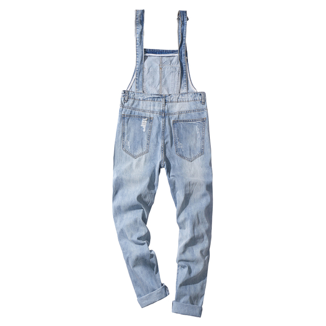 Sokotoo Men's plus size light blue ripped denim slim fit bib overalls Casual holes distressed jumpsuits Jeans pants