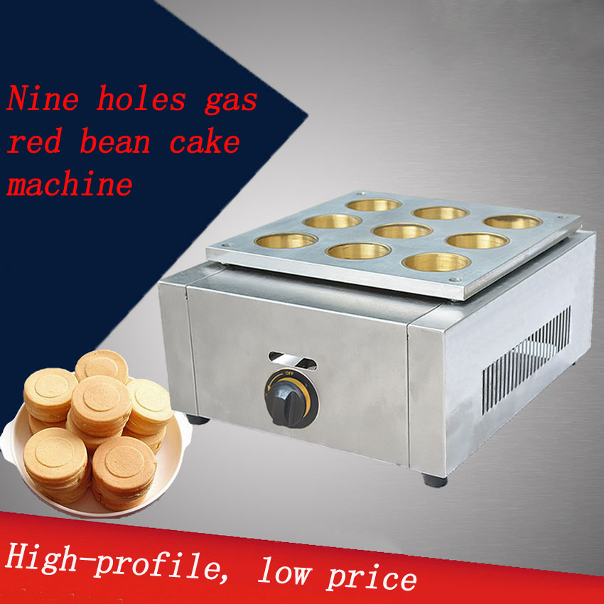 1 PC 9 hole gas type Red Bean Cake Machine Wheel Cake Machine Small Cake Machin Sanck Food Machine